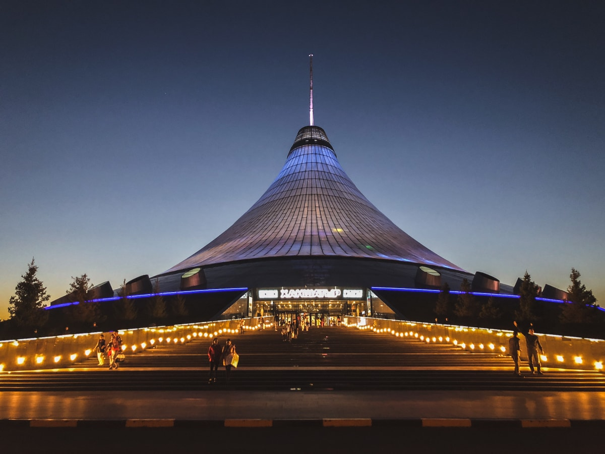 khan shatyr mall at dusk in astana kazakhstan