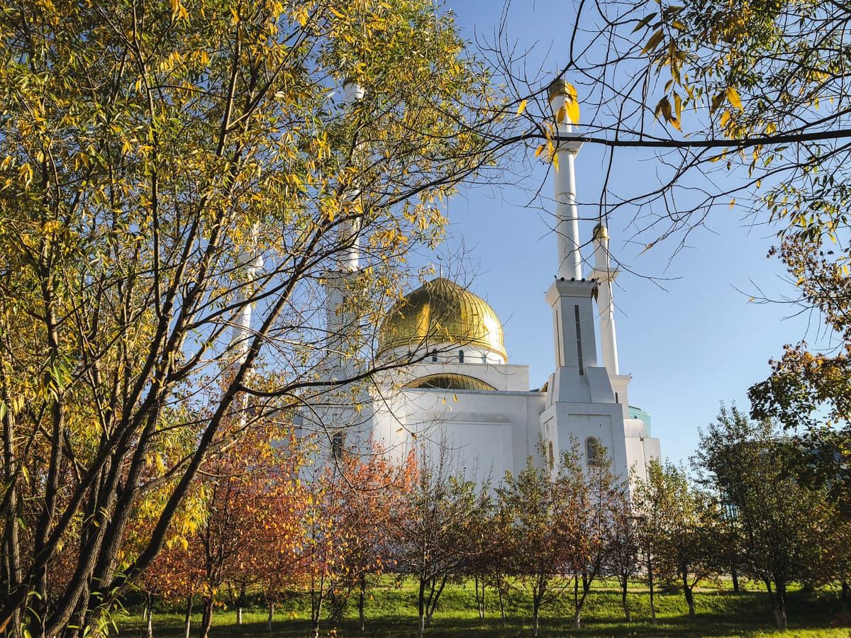 nur astana mosque in astana kazakhstan during fall