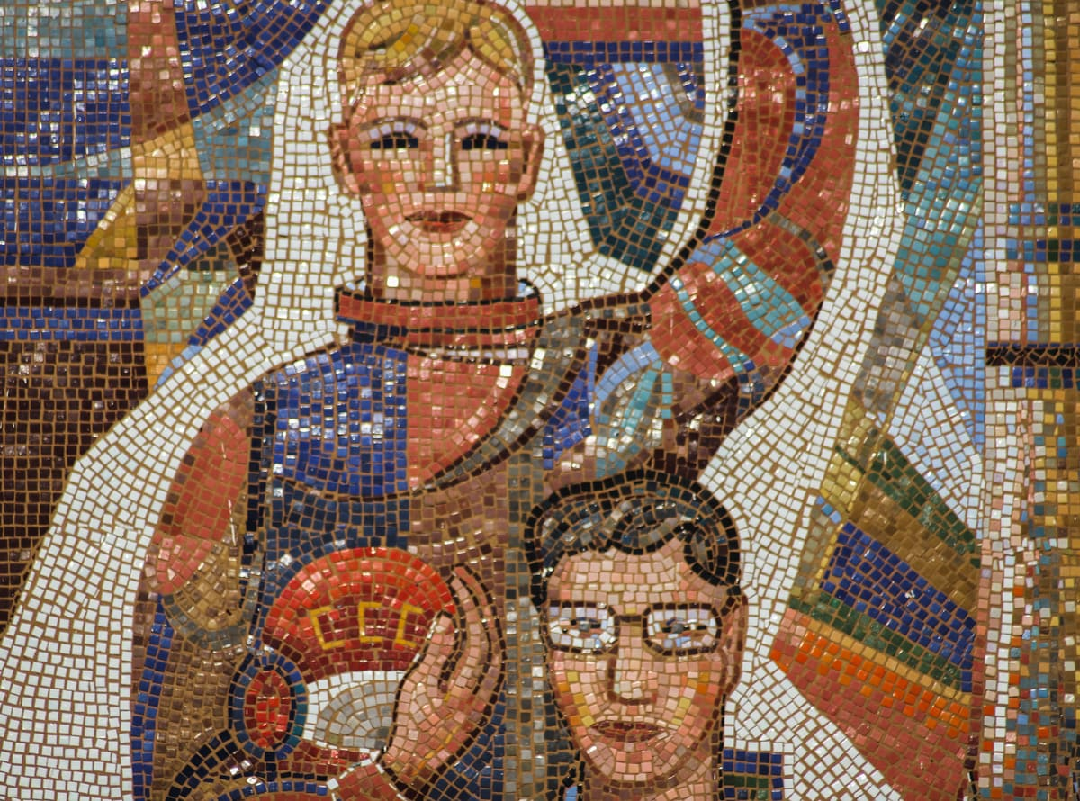 soviet mosaic at train station in astana kazakhstan