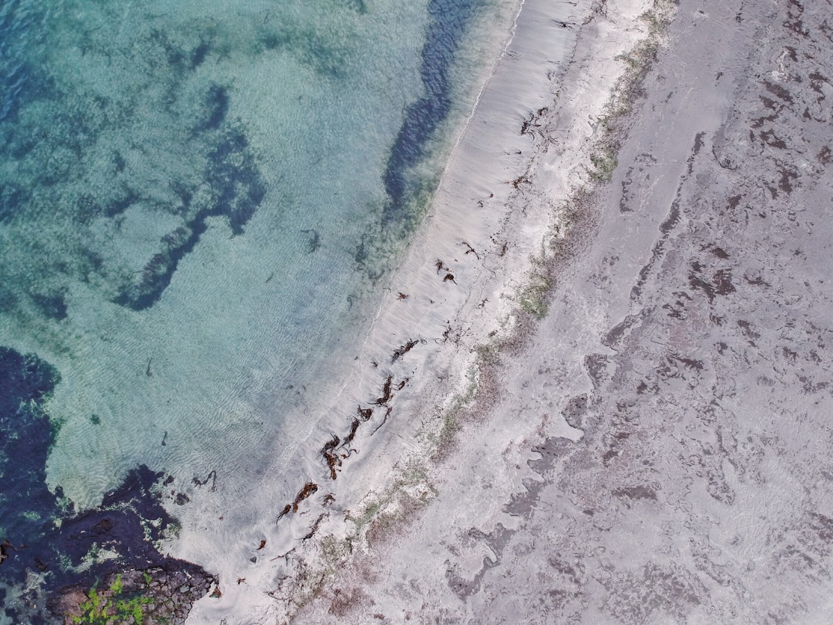 aerial drone shot from sandvik on suduroy in faroe islands