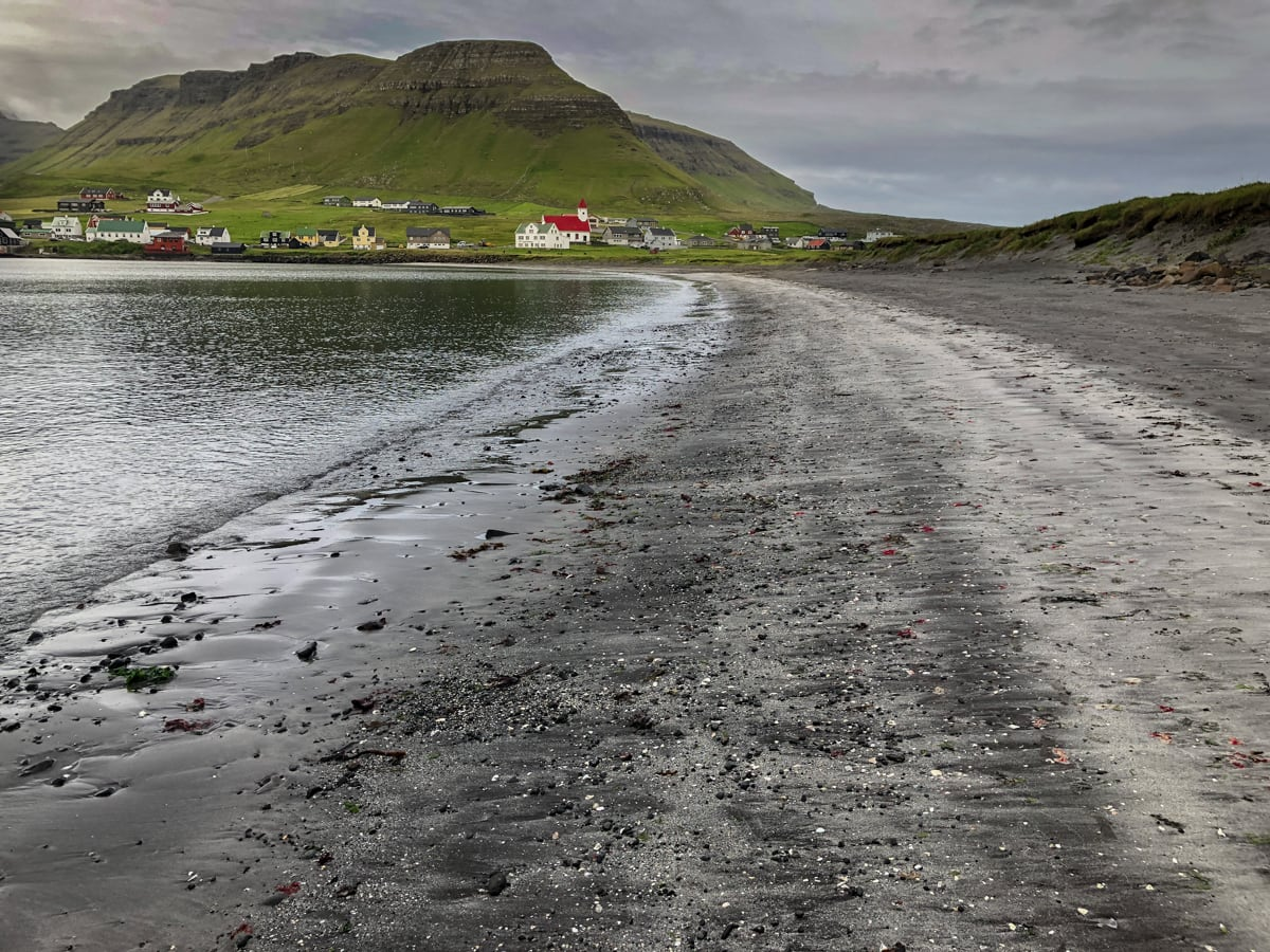 black sand beach at hvalba on suduroy in faroes