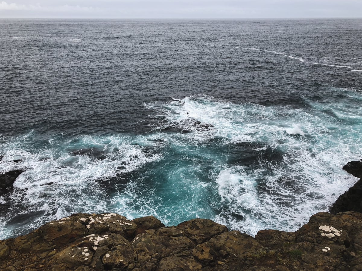 ocean water at Hvalbiareidi, Faroe Islands on suduroy