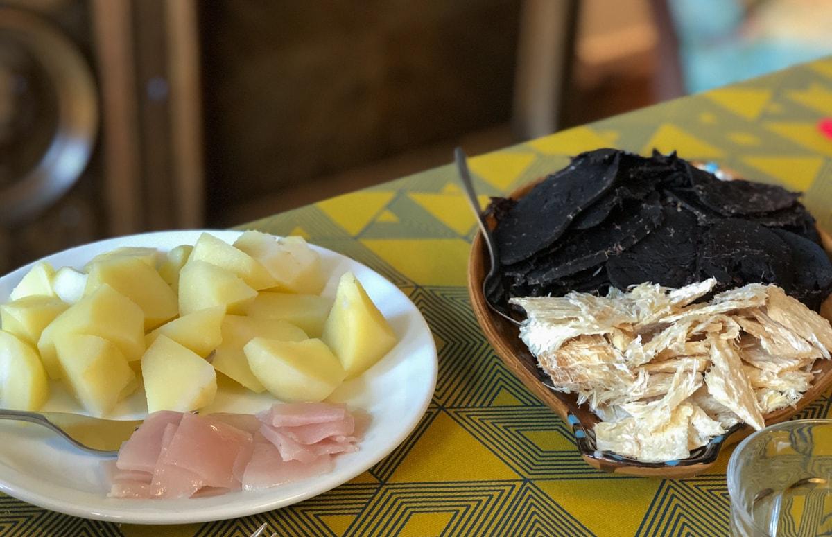 whale meat and blubber on suduroy faroe islands