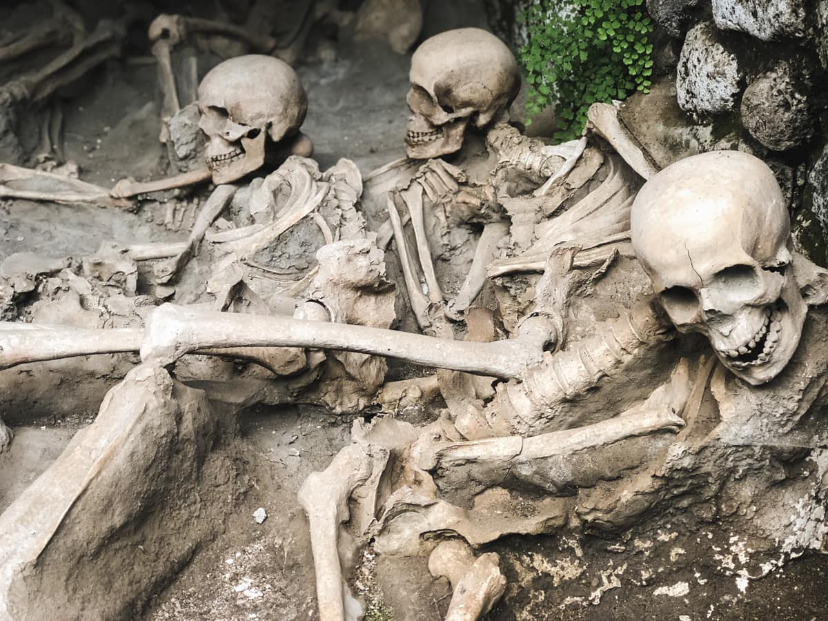 Herculaneum Italy - Ercolano Italy UNESCO World Heritage ruined by Vesuvius skeletons