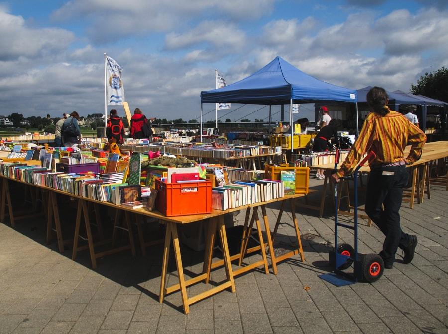 Dusseldorf Germany Rhein River book market