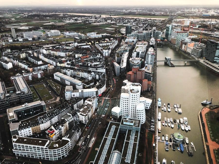 Things to do in Dusseldorf, Germany view from rheinturm