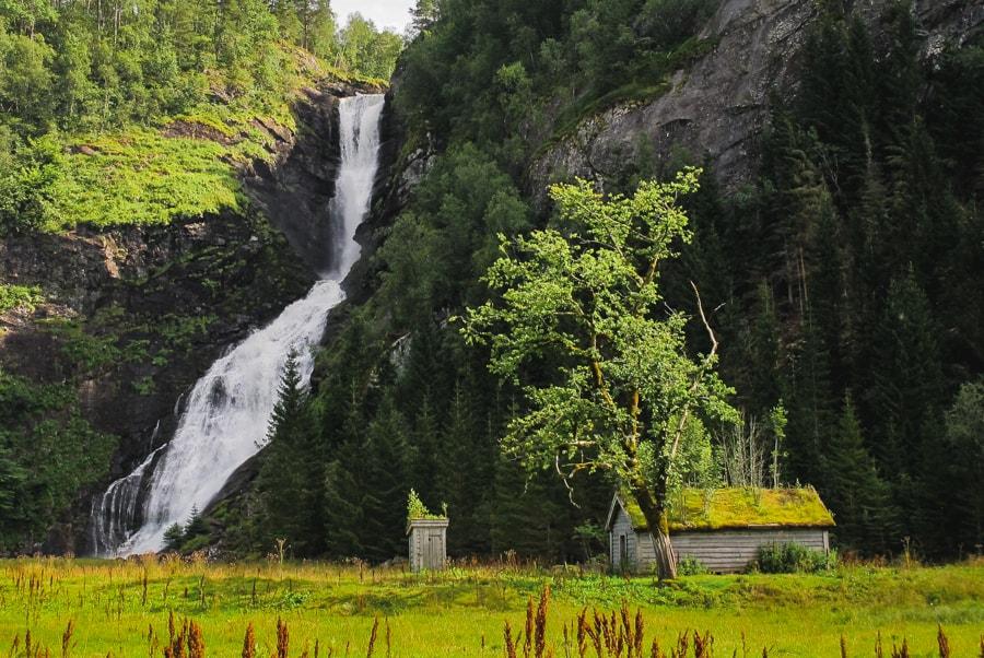 best day trips from Bergen Norway huldefossen waterfall near mo and førde