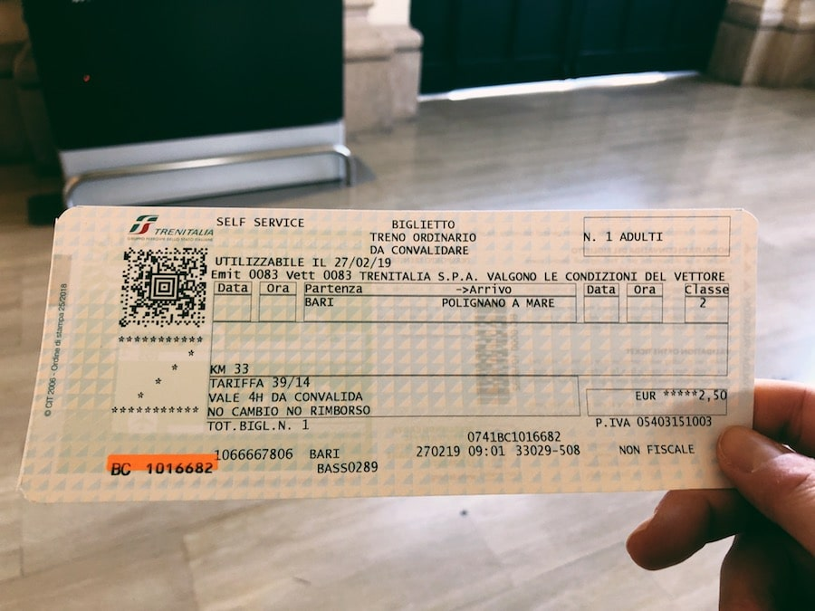 how to get from bari to polignano a mare cheaply by train ticket