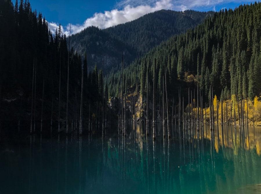 Lake Kaindy and Kolsai Lakes in Kazakhstan Sunken forest blue lake
