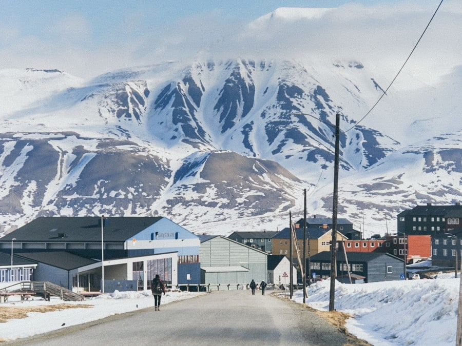Longyearbyen town center- where many of the hotels in Longyearbyen are located.