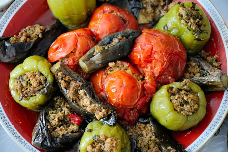 Classical Azerbaijani dolma with eggplant, tomato and pepper