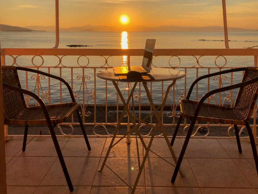 hotel plaza in aegina sunset