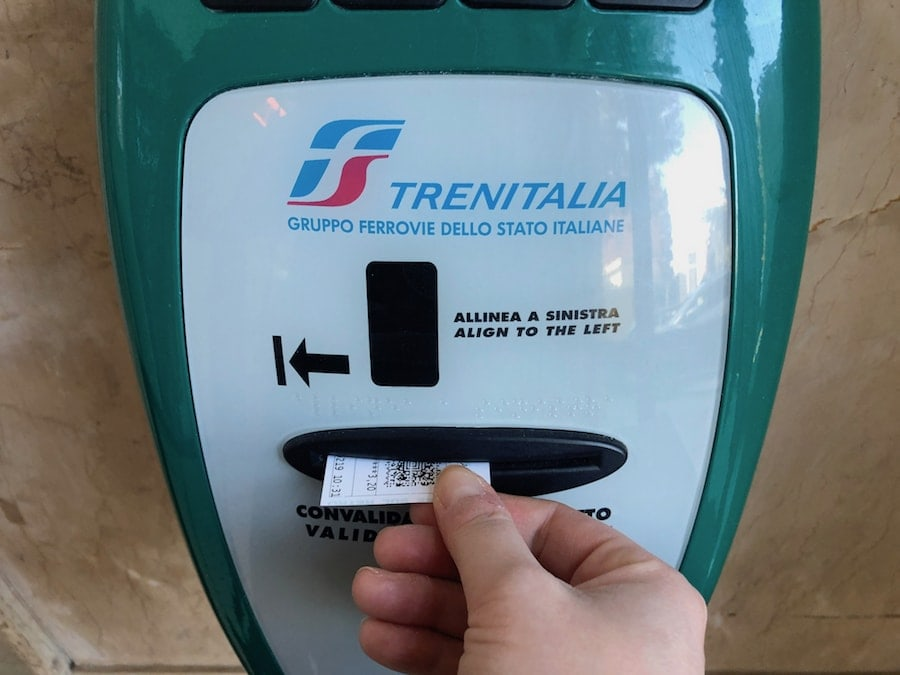 trenitalia validating ticket in monopoli