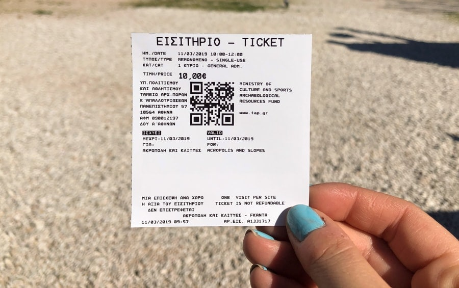 ticket for acropolis in athens
