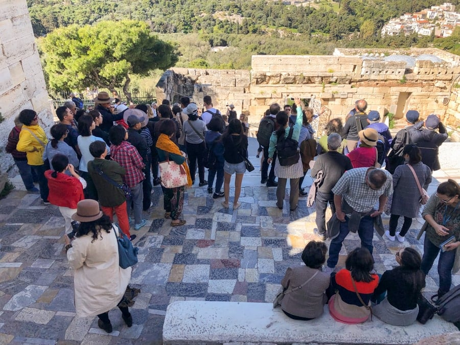 crowds at the acropolis greece