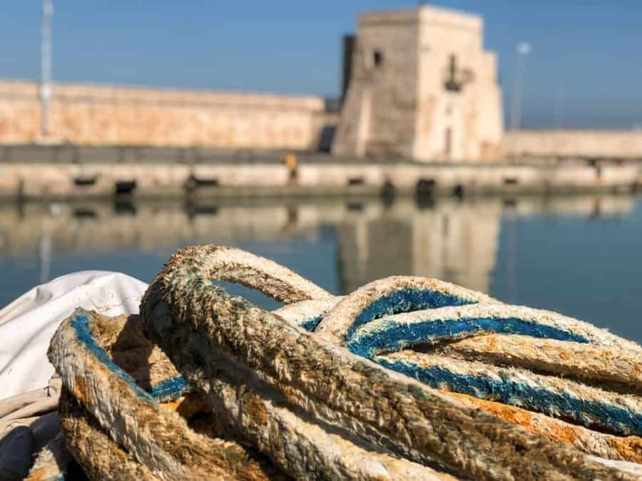 Fishing boat rope in Trani, Italy
