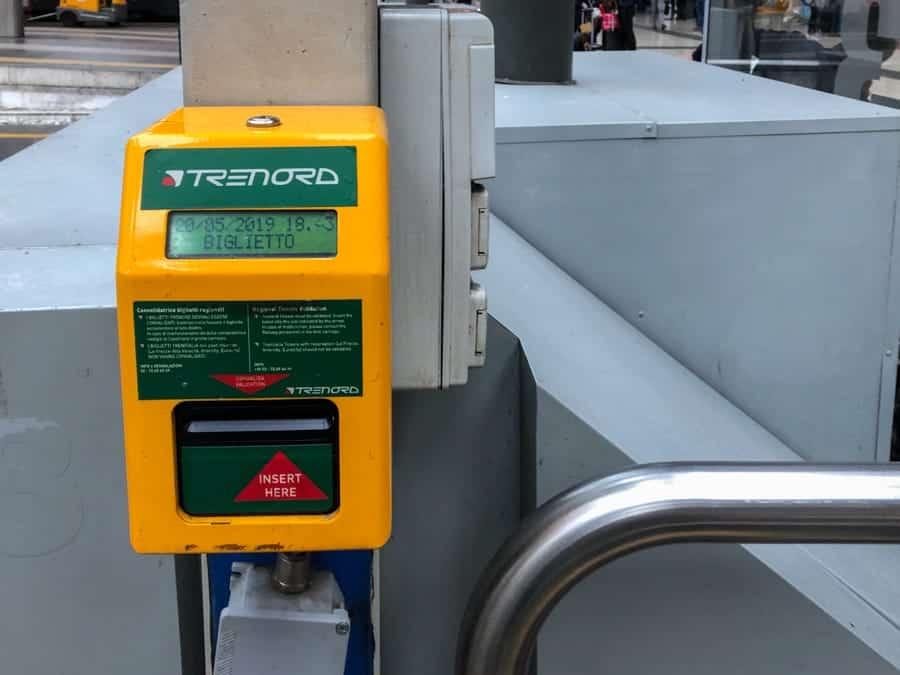Milan Ticket Validation Machine in Milano Centrale