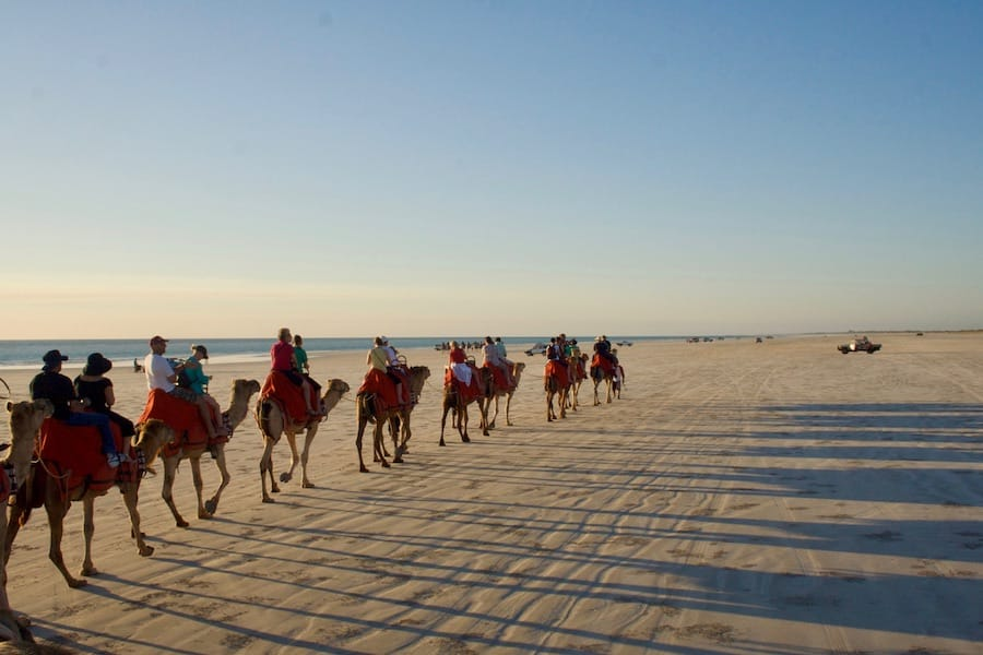 Sunset camel rides on Cable Beach