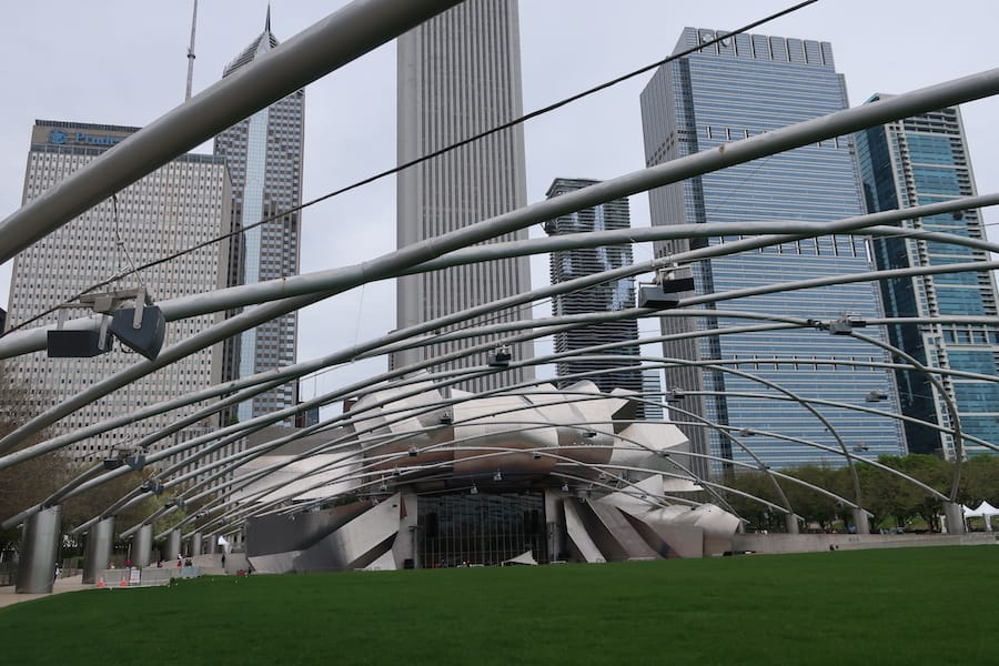 Millennium Park (where they do workout classes and show movies)