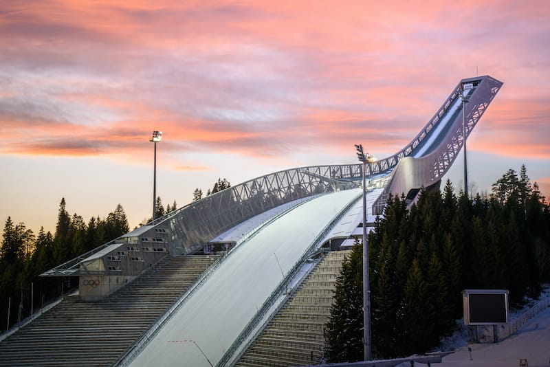 Oslo Norway Holmenkollen ski jump with colorful sky