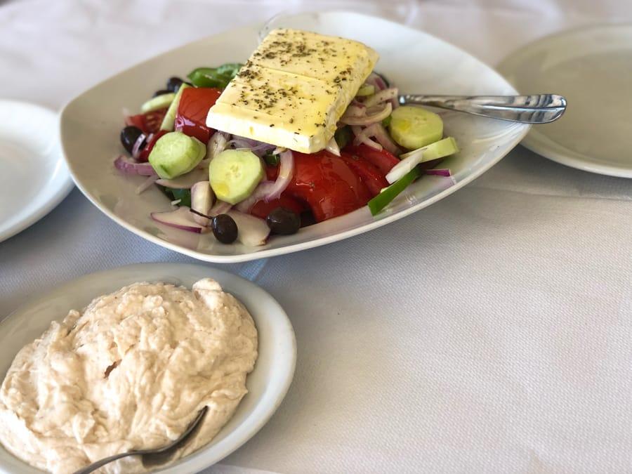 Amazing restaurant in Poros, Greece: taramasalata and a Greek Salad
