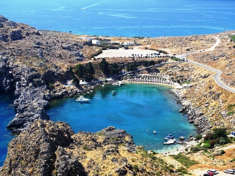 St Pauls's beach from above Lindos Rhodes - best places to visit in greece