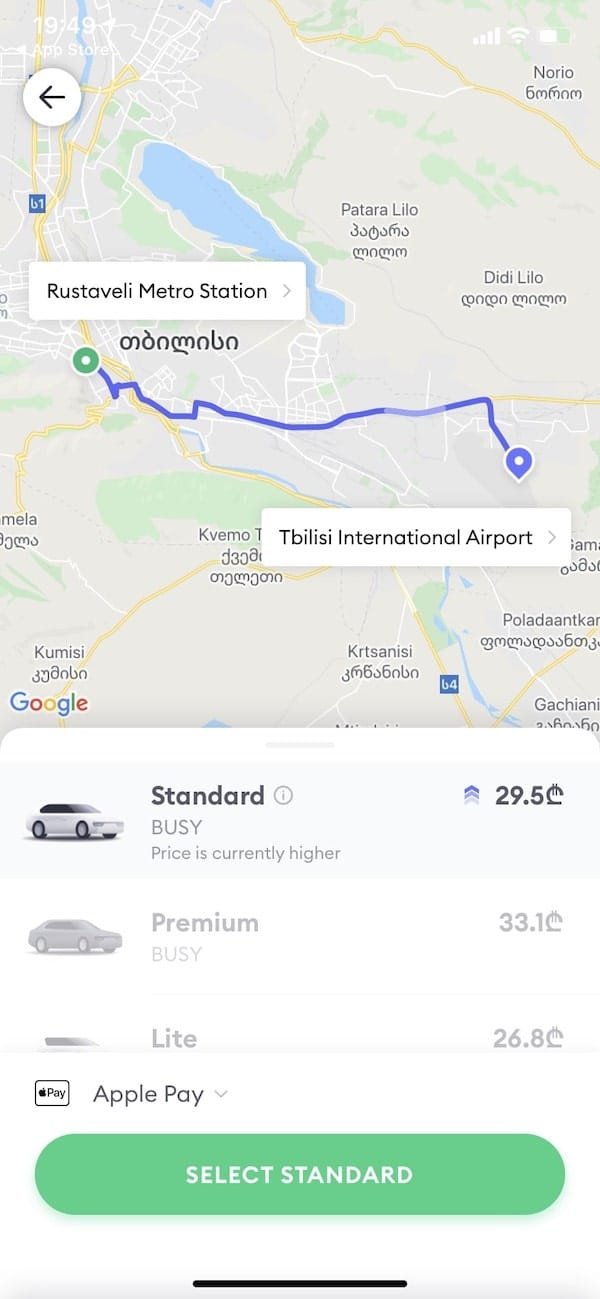 how to take a taxi in Tbilisi with 2 apps (bolt and yandex)