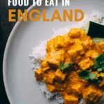 The best food in England (12 must try dishes) | England #travel #british #england #english | England Trips | Food in England | England restaurants | London Food | Things to do in England | English dishes | English cuisine | England food | Visit Kazbegi | Fish and chips | trifle | cornish pasty | pork pie | England photography | bangers and mash | chicken tikka masala | eton mess | sausage roll | full english breakfast