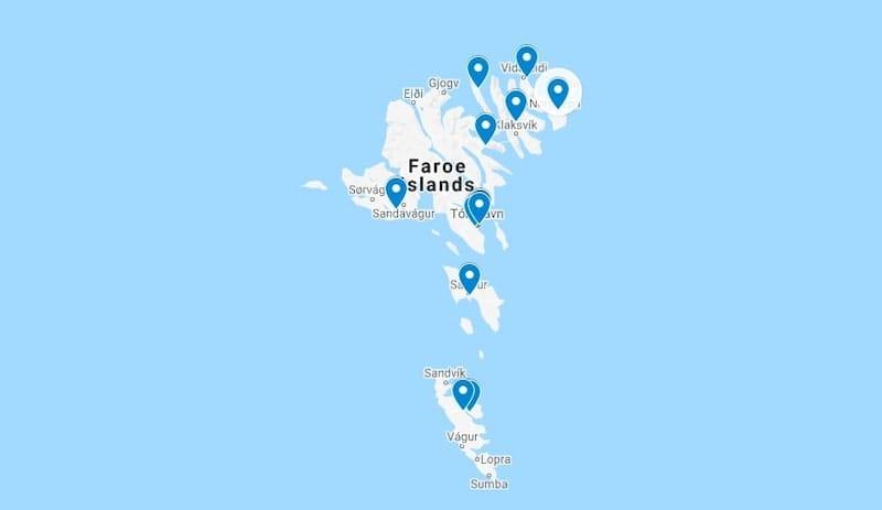 Airbnb faroe islands map