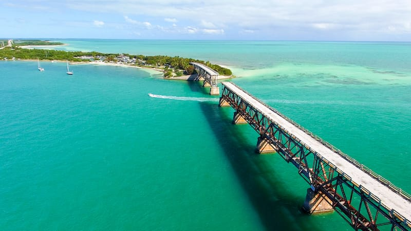 The road from Miami to Key West is beautiful