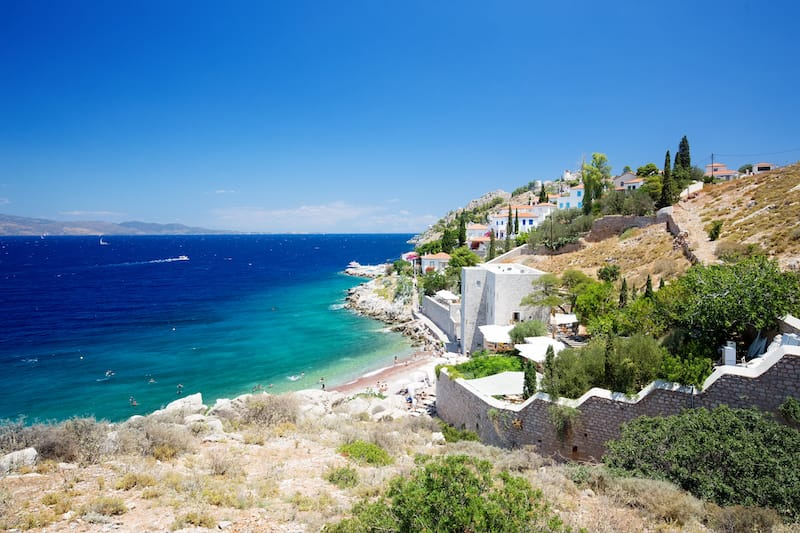Castello Hydra and Kamini beach