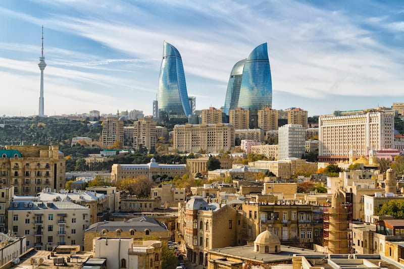 Visit Baku Travel guide: Flame Towers view in Baku Azerbaijan