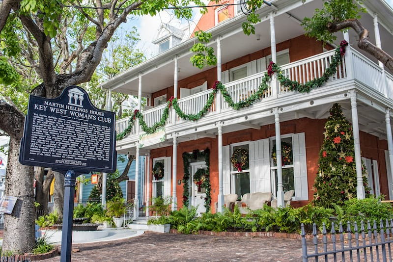 Martin Hellings House Women's Club in Key West. The Key West Woman's Club bought the residence in 1940 to serve as a library.