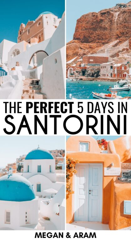 Perfect Santorini Itinerary: How to Spend 5 Days in Santorini - this itinerary for Santorini will tell you exactly how to spend your time on the gorgeous Greek Island, including what to do and where to stay | Santorini Greece | Places to visit in Greece | Santorini photography | Instagrammable places in Santorini | Things to do in Santorini | Hiking in Santorini | Santorini Beaches | Santorini Boat Trips | Oia Sunsets | Things to do in Oia | Visit Santorini | Travel to Santorini