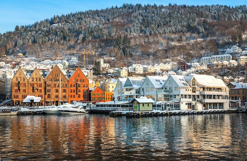 Across the harbor from Bryggen in Bergen