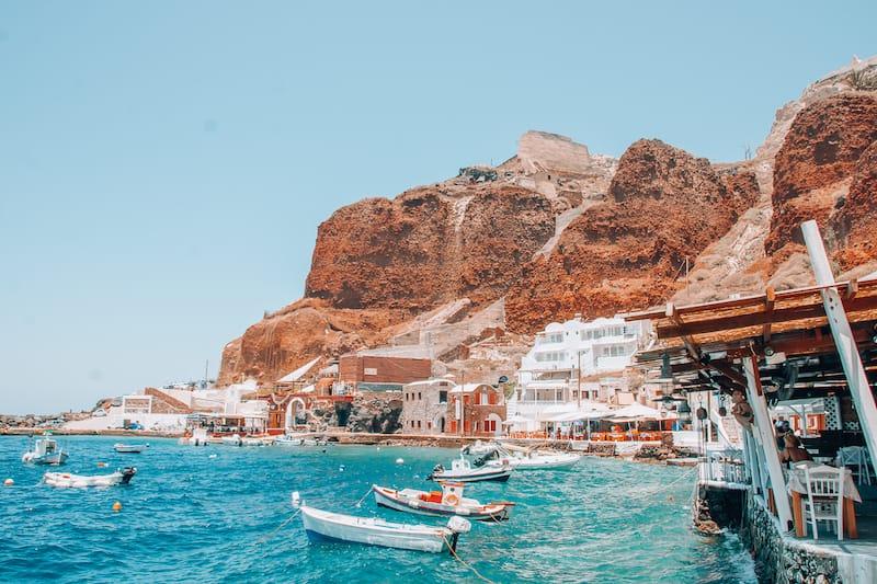 Amoudi Bay in Santorini Greece