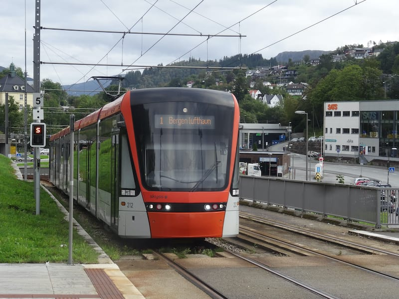 Bergen Bybanen light rail to airport