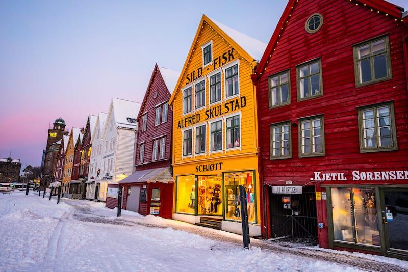 Bryggen Bergen in the winter