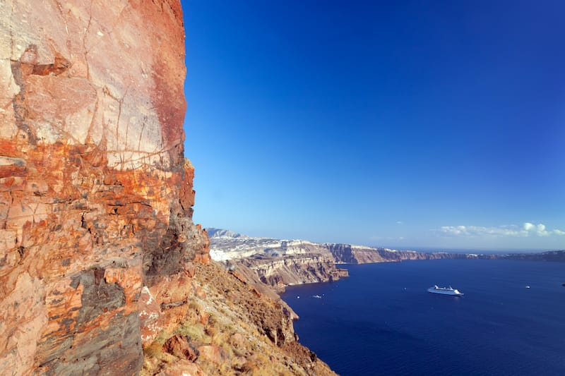 Ancient cliffs and rocks in Santorini