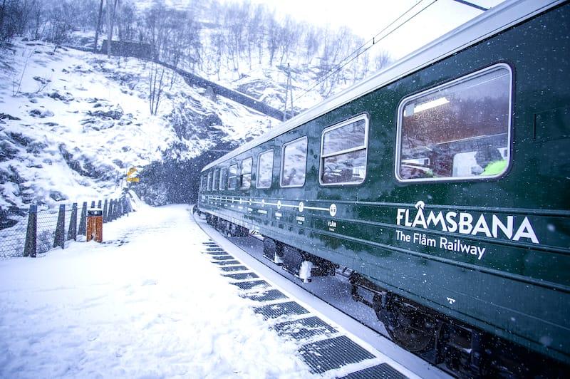 Flamsbana train in winter in Norway
