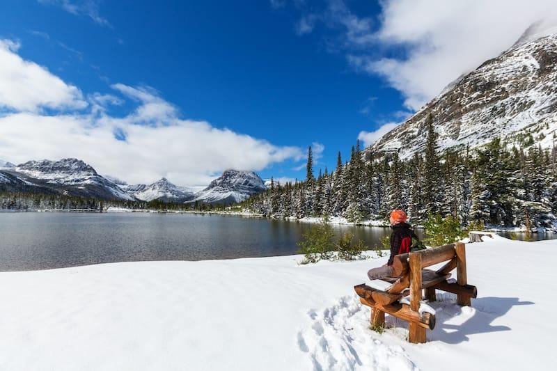 Glacier National Park in winter in Montana