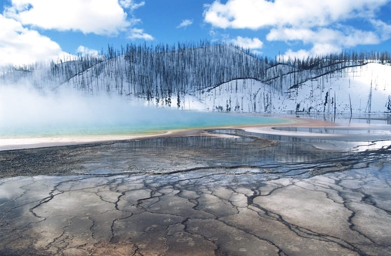 Grand Prismatic Spring in Yellowstone in winter