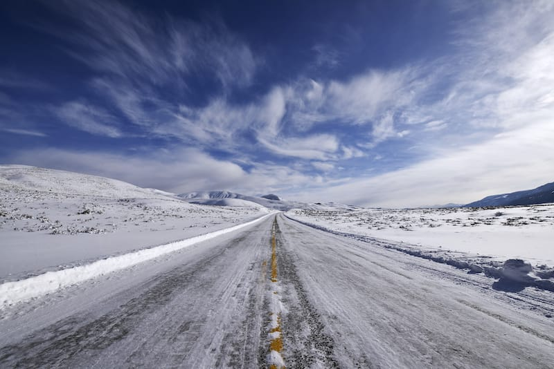 Icy road in Yellowstone in winter