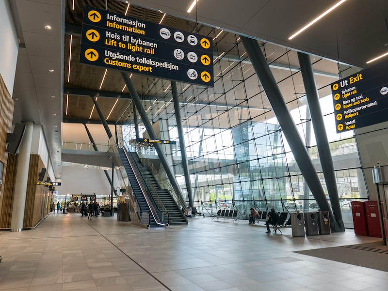 Inside Bergen Airport arrivals hall