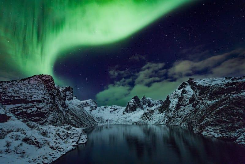 Northern lights in Lofoten Islands in winter in Norway