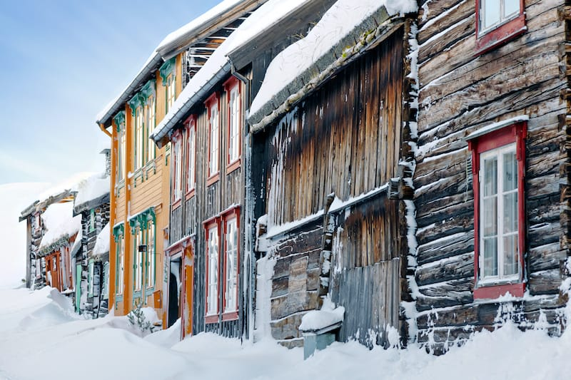 Roros in winter in Norway
