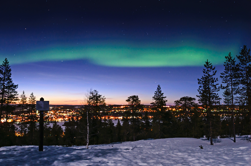 Rovaniemi northern lights over city