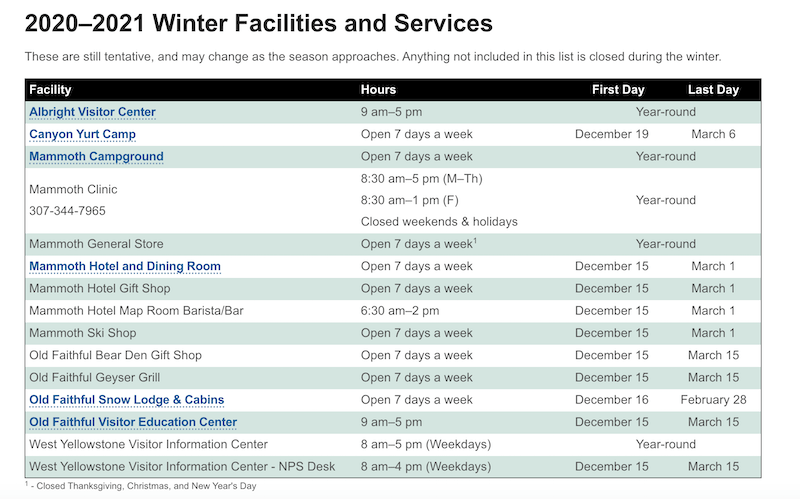 Winter season at Yellowstone schedule