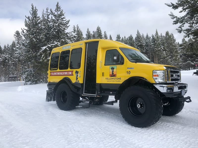 Snowcoach in Yellowstone during winter