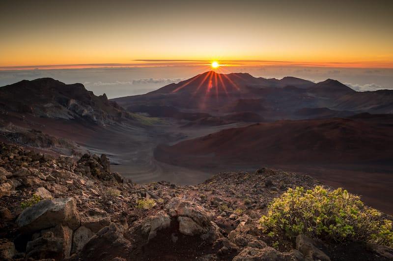 Starburst sunrise shot on the summit of Haleakala Volcano